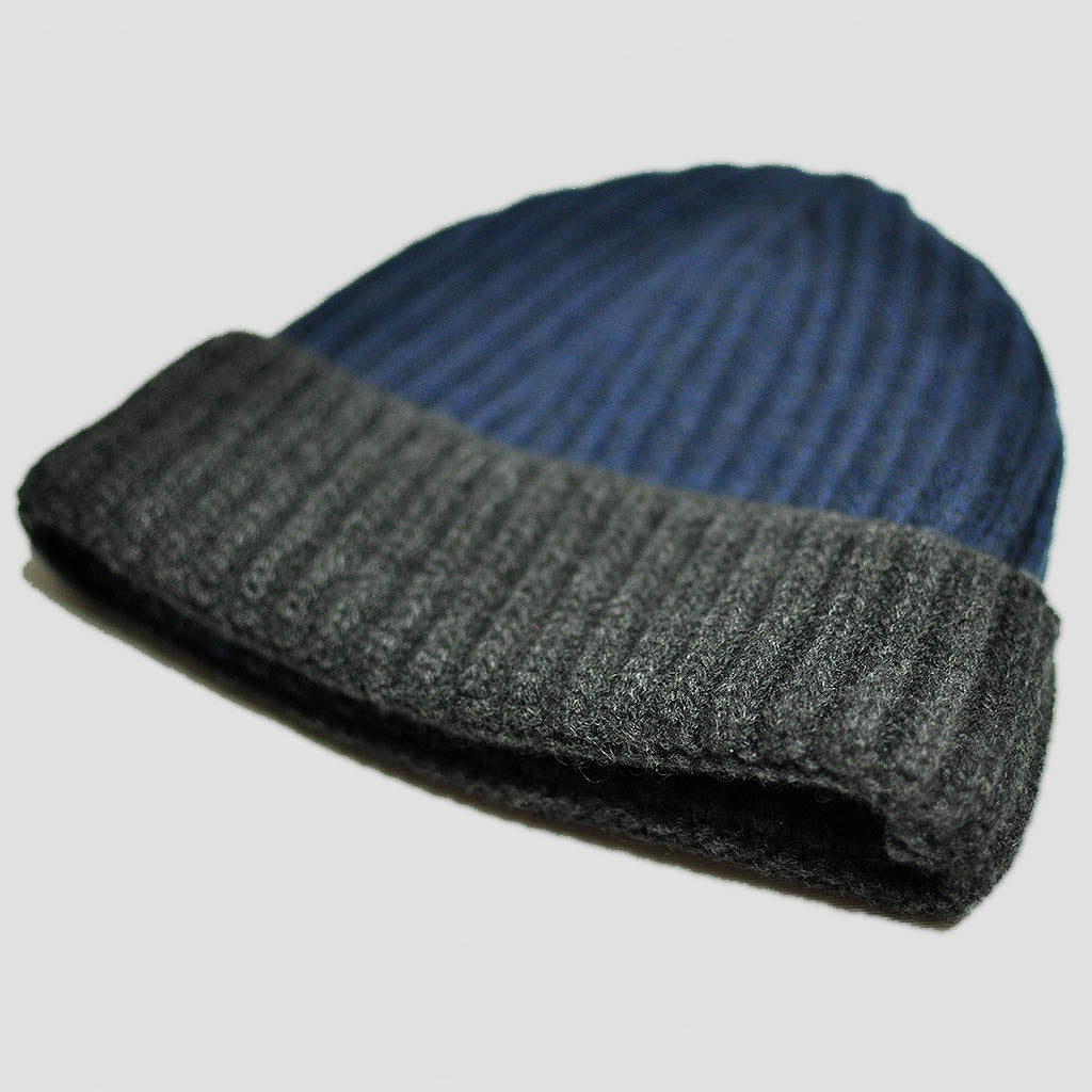 Four Ply Cashmere Winter Beanie in Blue & Grey