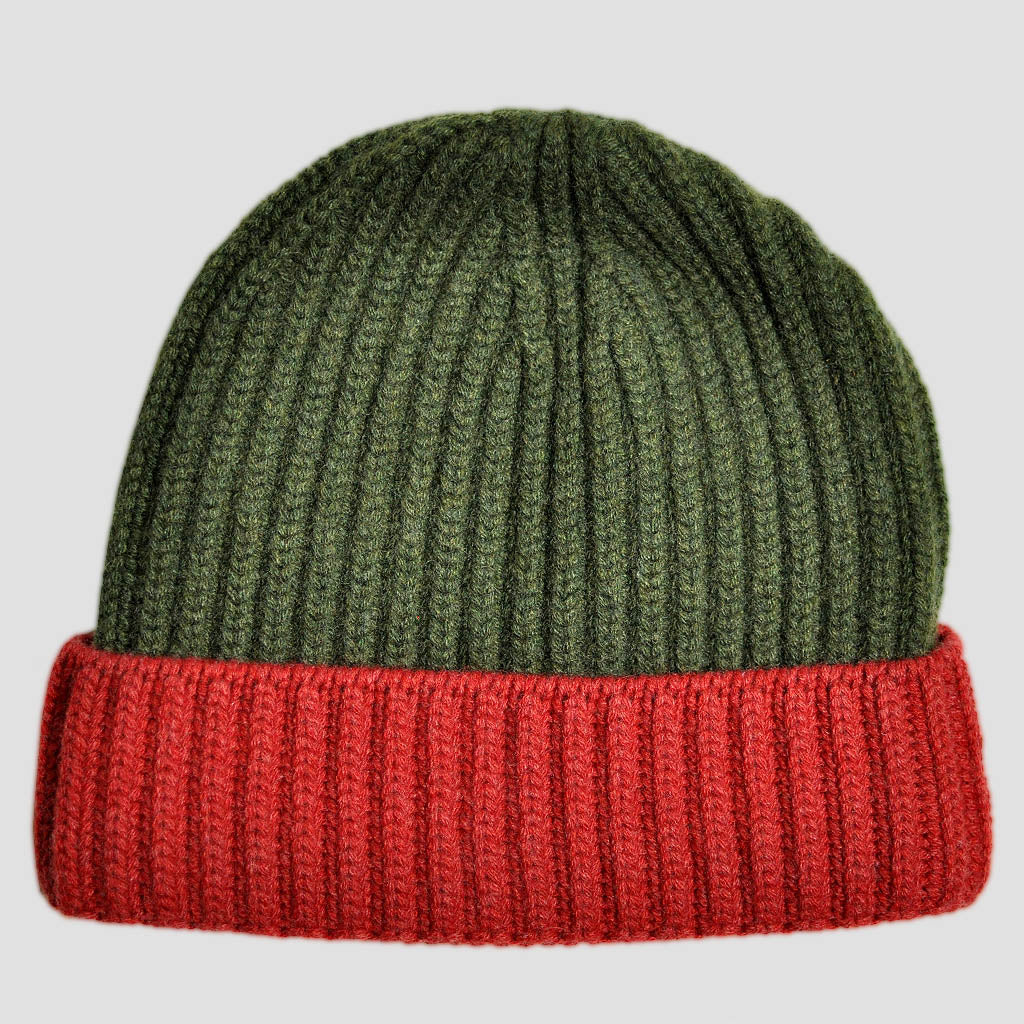 Four Ply Cashmere Winter Beanie in Green & Red