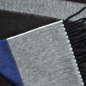 Herring Bone Colour Bands Wool Scarf in Grey, Brown & Blue