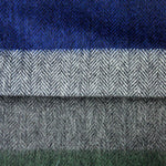 Herring Bone Colour Bands Wool Scarf in Grey, Green & Blue