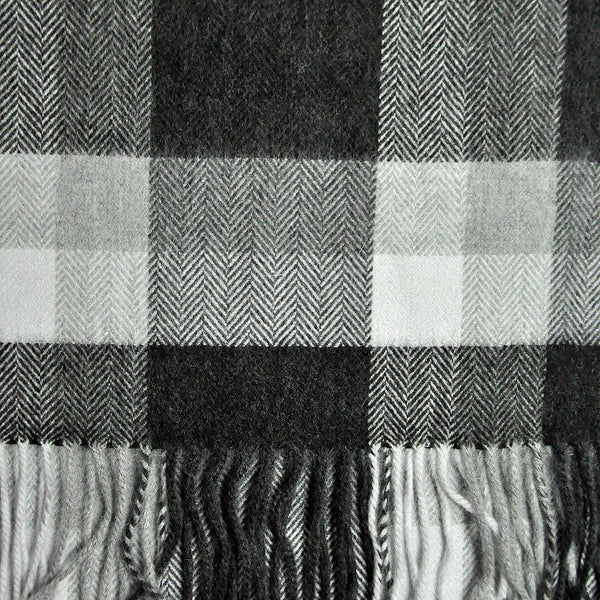 Herring Bone Greys Wool Winter Scarf