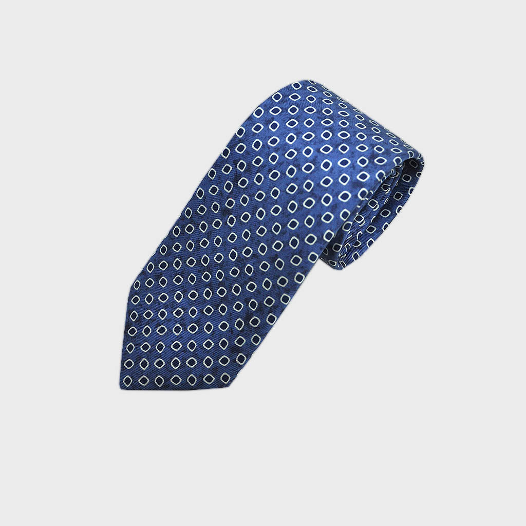 English Silk Dotty Repeat Tie in Blue