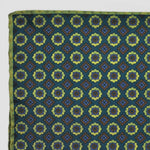 Reversible Repeats Pocket Square in Green & Lime