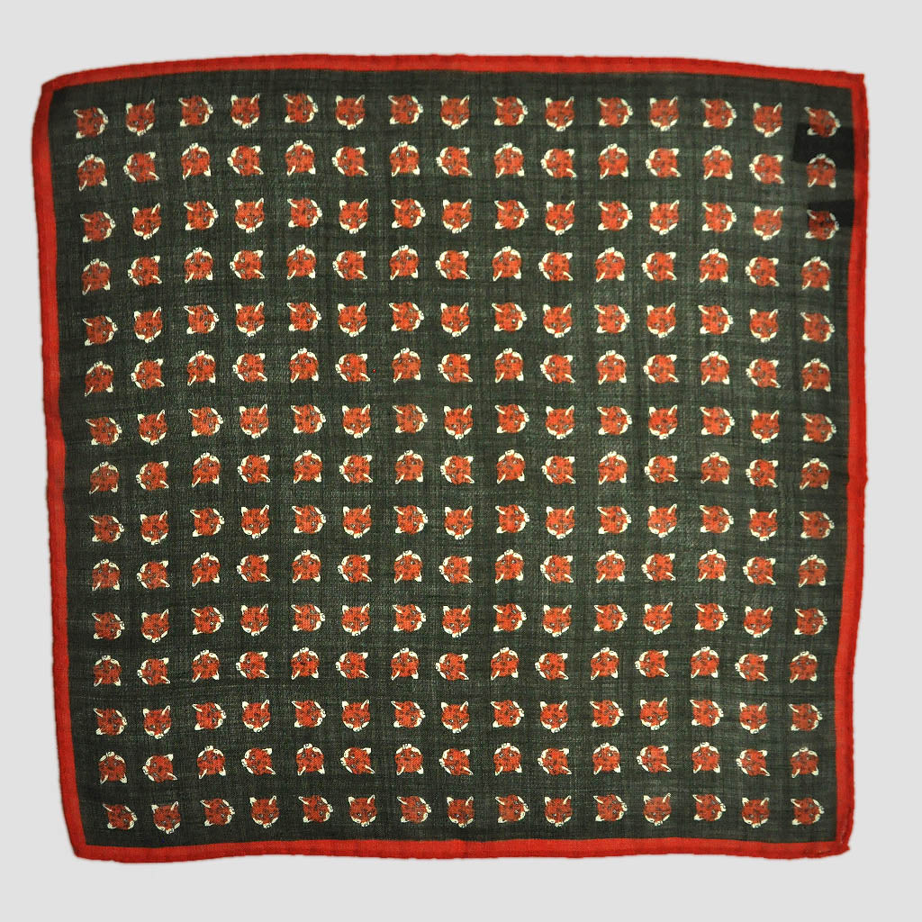 Fox Face Wool Pocket Square in Green & Orange