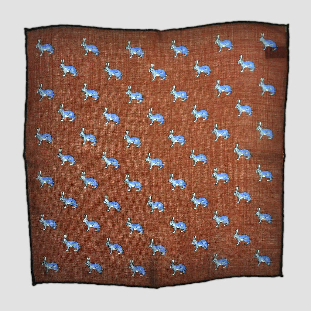 Blue Hare on Brown Wool Pocket Square