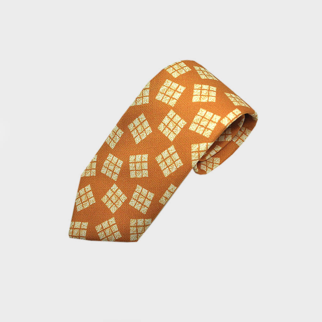 Cool Geometric Textured Silk Tie in Sunset Yellow