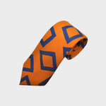 English Silk Groovy Square Print Tie in Orange & Blue