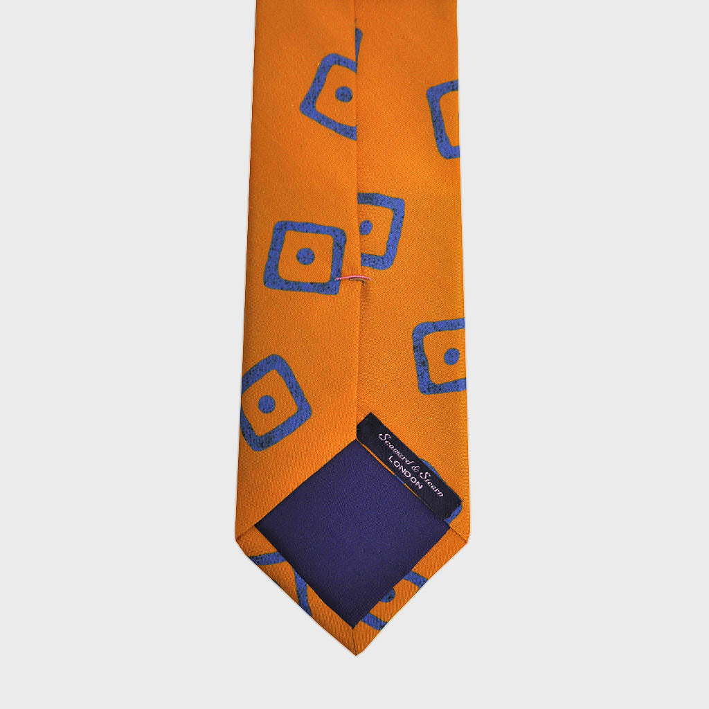English Silk Dot the Square Print Tie in Orange & Blue