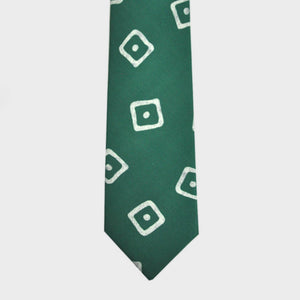 English Silk Dot the Square Print Tie in Green
