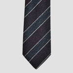 Dashing Stripes Wool and Silk Tie in Grey & Burgundy