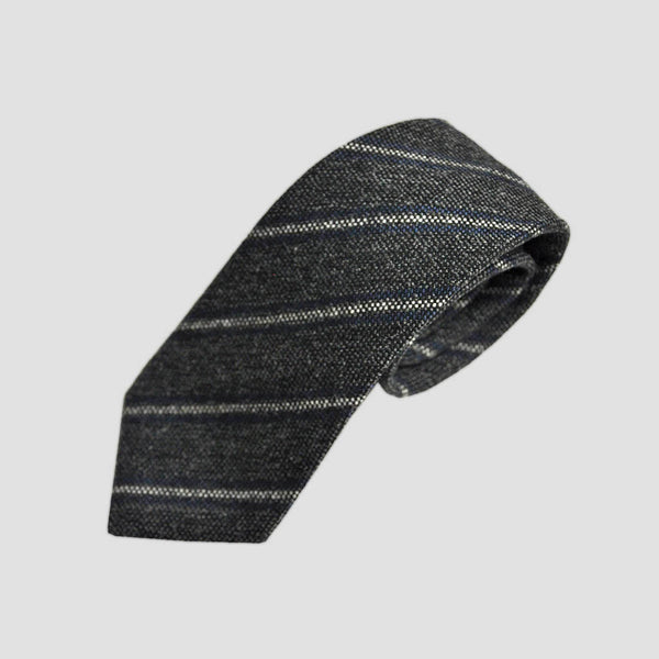 Winter Stripes Wool Tie in Greys & Blue