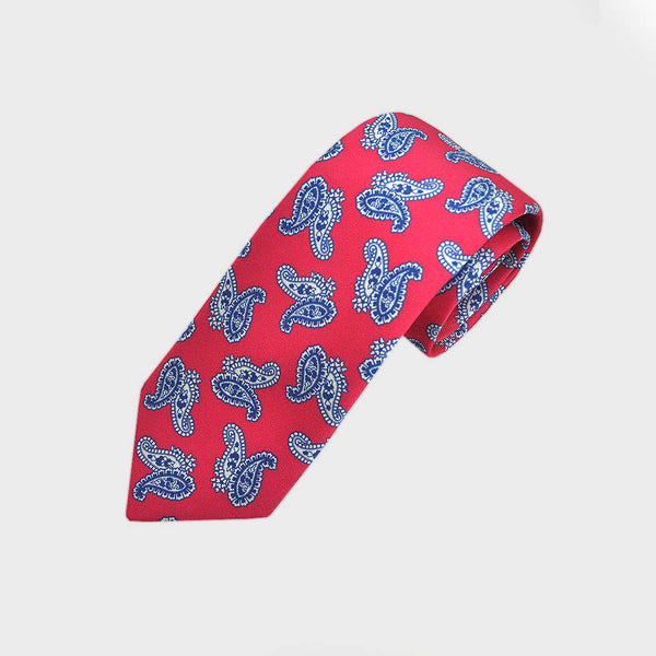 Poppy Paisley Printed English Silk Tie