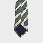 English Silk Textured Stripes Tie in Grey & White