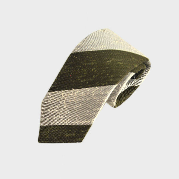 Chunky Stripes Slub Silk Tie in Olive Green