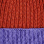 Four Ply Cashmere Winter Beanie in Orange & Lilac