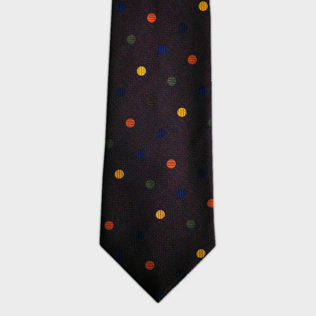 Brown With Colourful Spots Woven Silk Tie