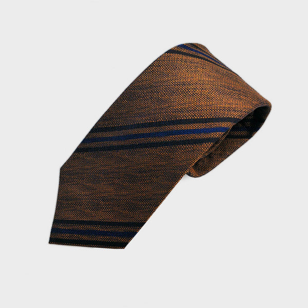 Autumnal Stripes Tussah Silk Tie