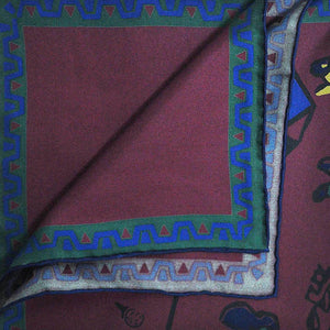English Silk Tee-off Pocket Square in Burgundy