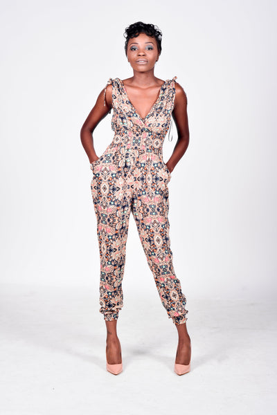 Kelci Print Low-Cut Jumpsuit