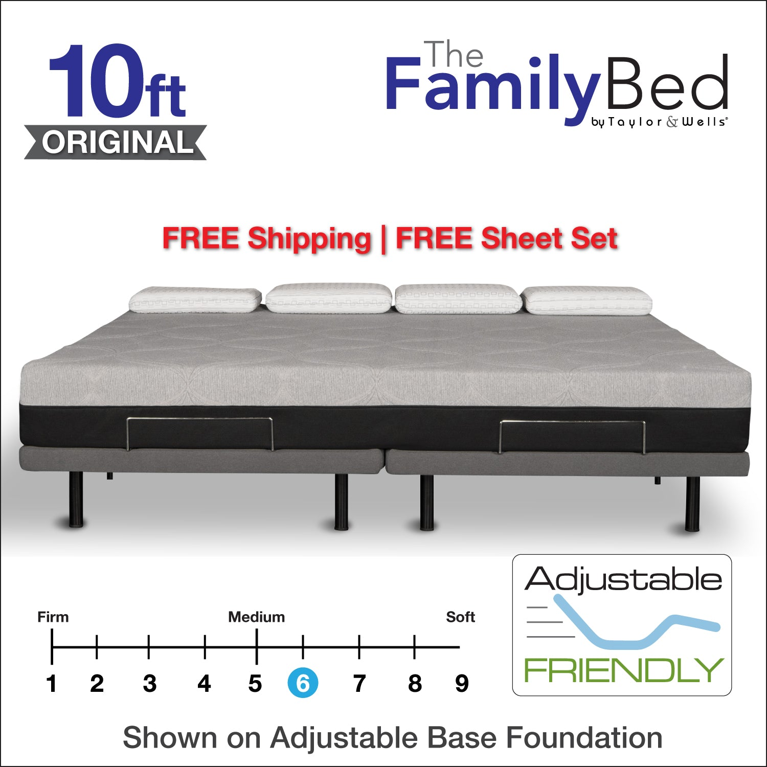 The Family Bed 10 Foot Gel Memory Foam Mattress