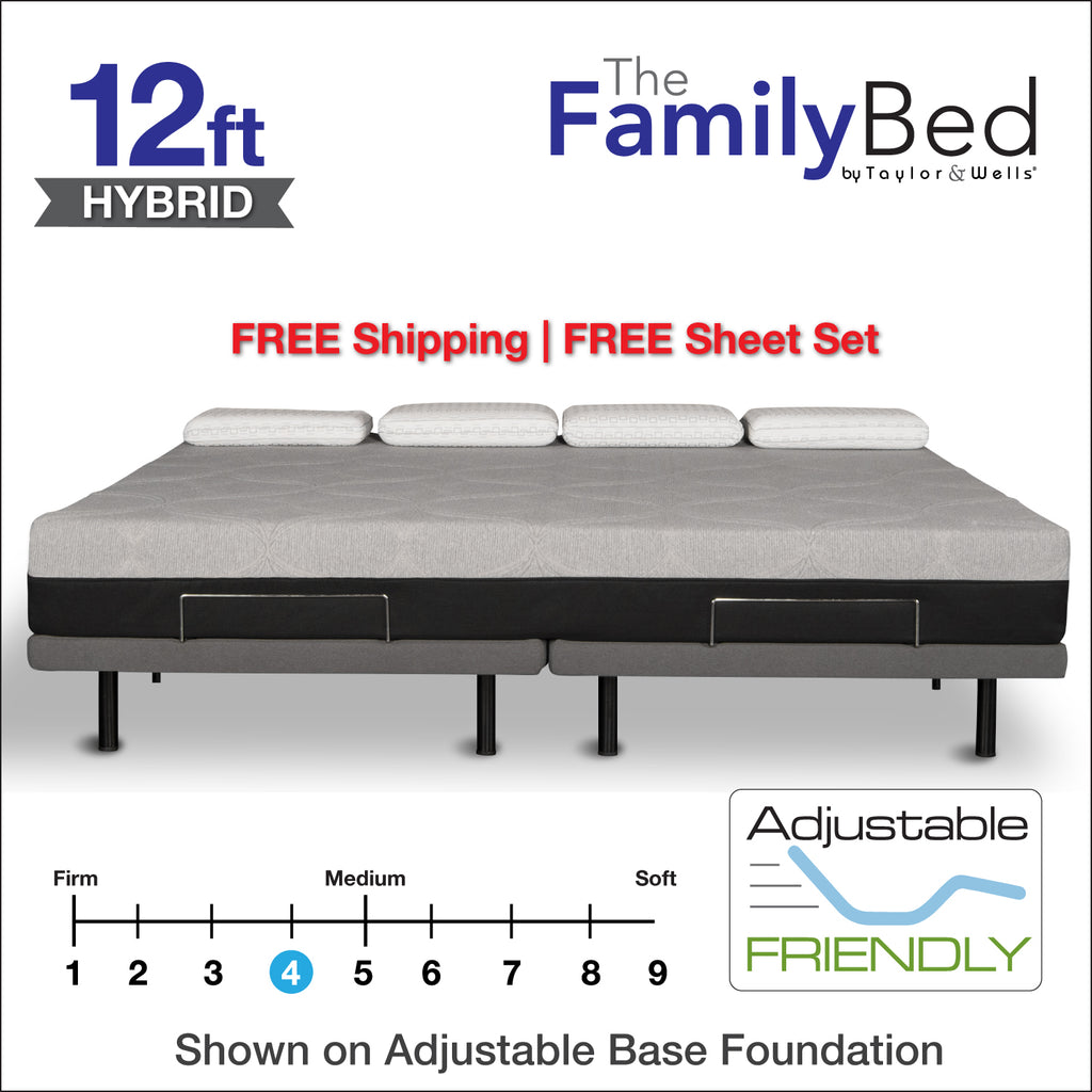 The Family Bed Hybrid XL 12 Foot Gel Memory Foam Mattress