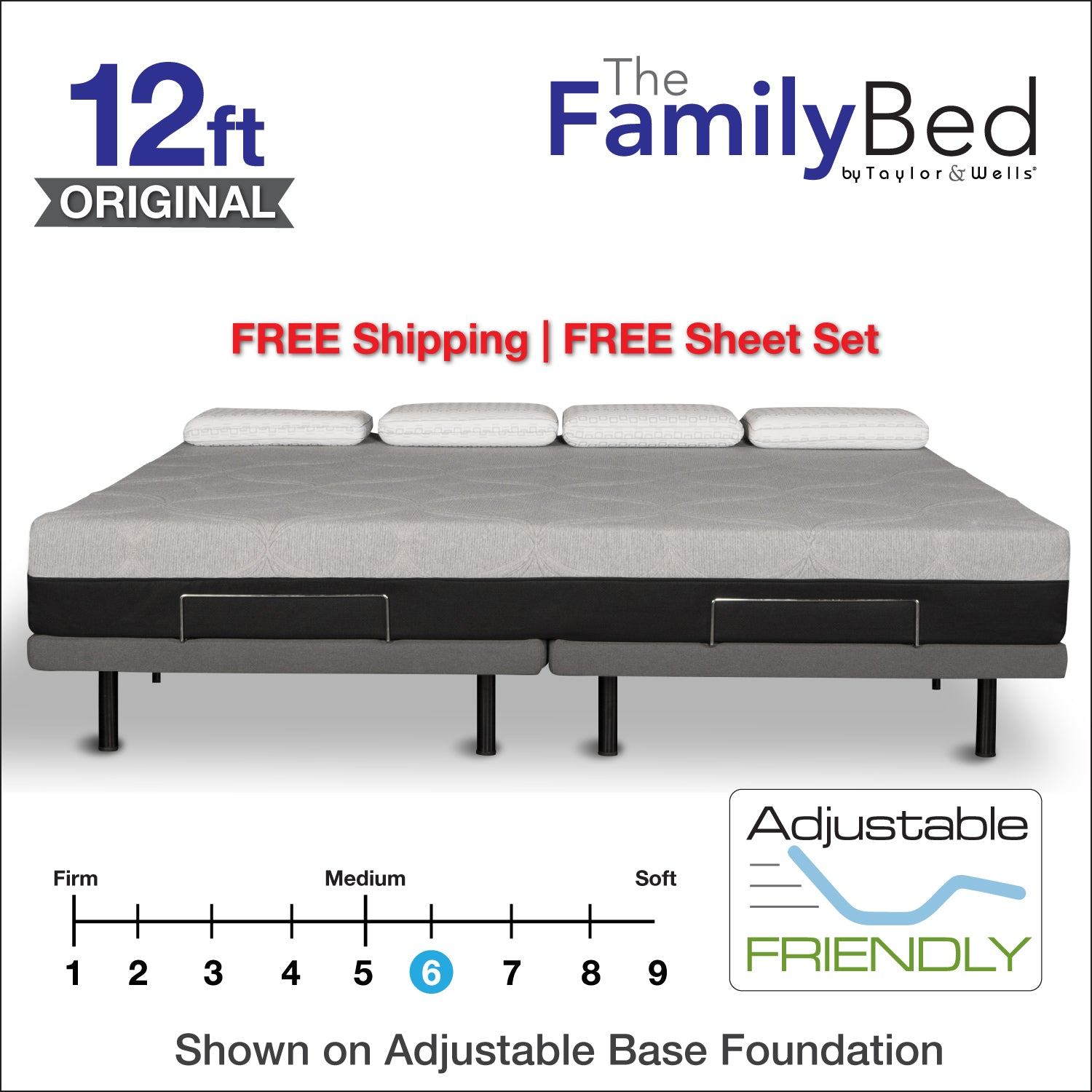 The Family Bed XL 12 Foot Gel Memory Foam Mattress