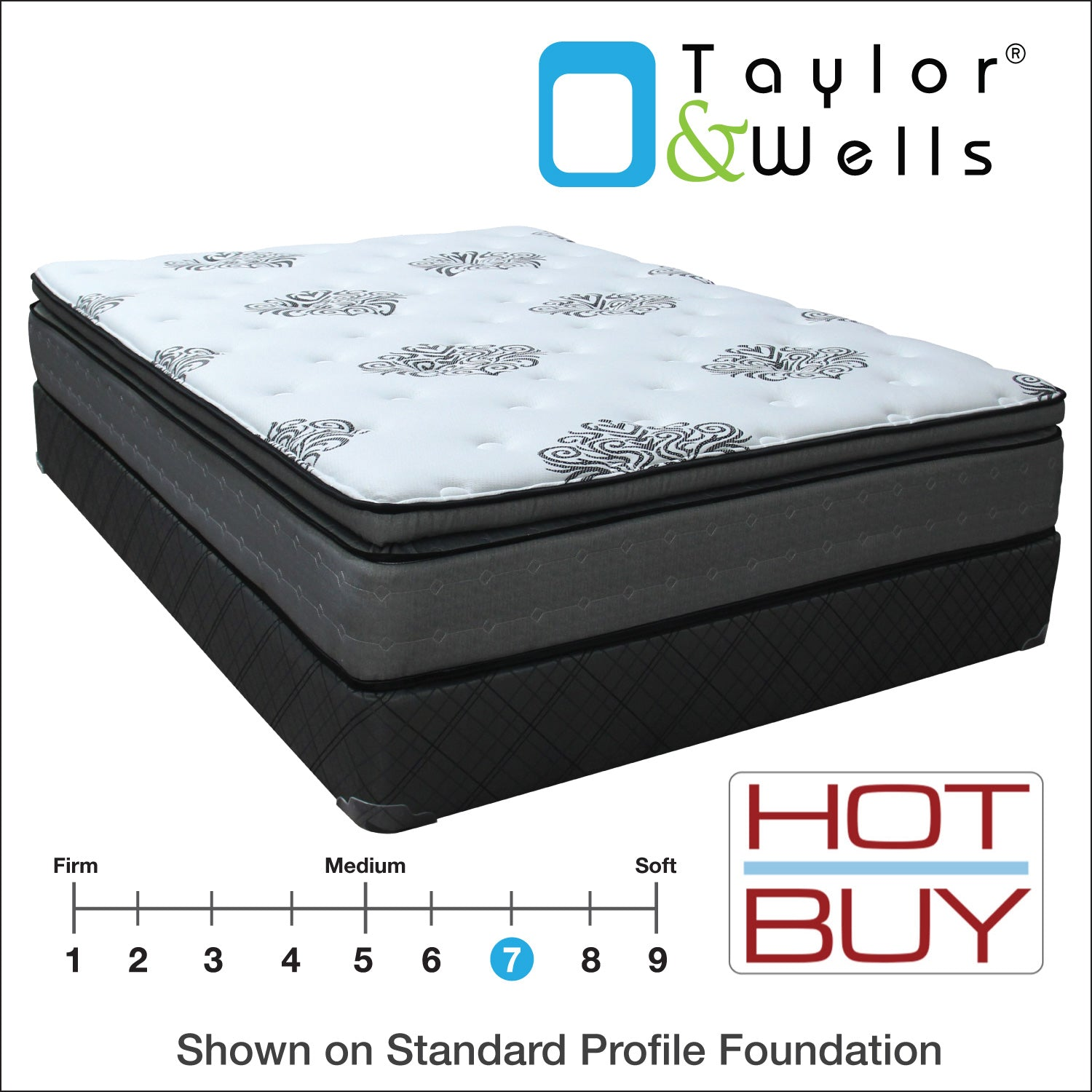"Taylor & Wells® 12"" Roundtree Euro Pillow Top Mattress (In-Store Pickup Only)"