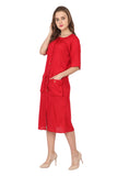 Ftrendy red panel shirt dress
