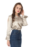 Ftrendy Silver Slit Sleeves Top