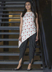 Printed Work Khadi Cream Casual Wear Top With Bottom