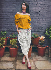 Printed Work Khadi Yellow Casual Wear Top With Bottom