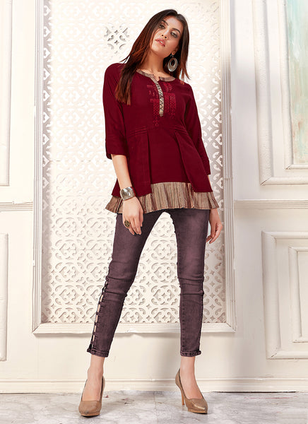 Red Cotton Daily Wear Flex Top