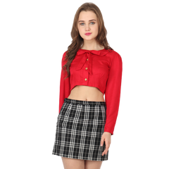 Ftrendy red peterpan collar bow crop shirt