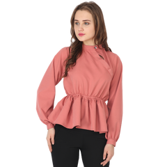 ftrendy coral pink peplum top