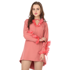 Ftrendy Coral Ruffle Dress