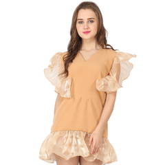 Ftrendy Light Orange Ruffle Dress