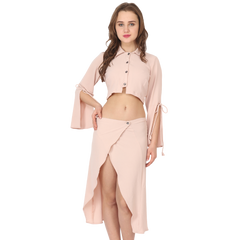 Ftrendy Light Pink Button Top & Skirt Set