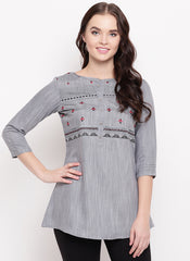 Grey Cotton Office Wear Embroidery Work Top