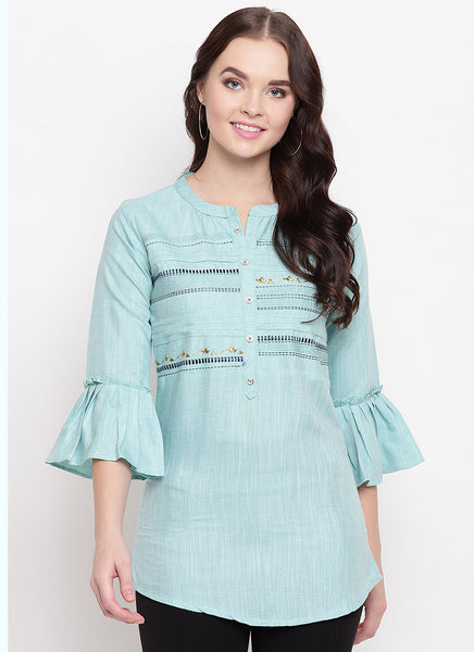 Sky Blue Cotton Office Wear Embroidery Short Top