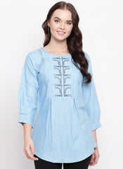 Sky Blue Cotton Office Wear Embroidery Work Top