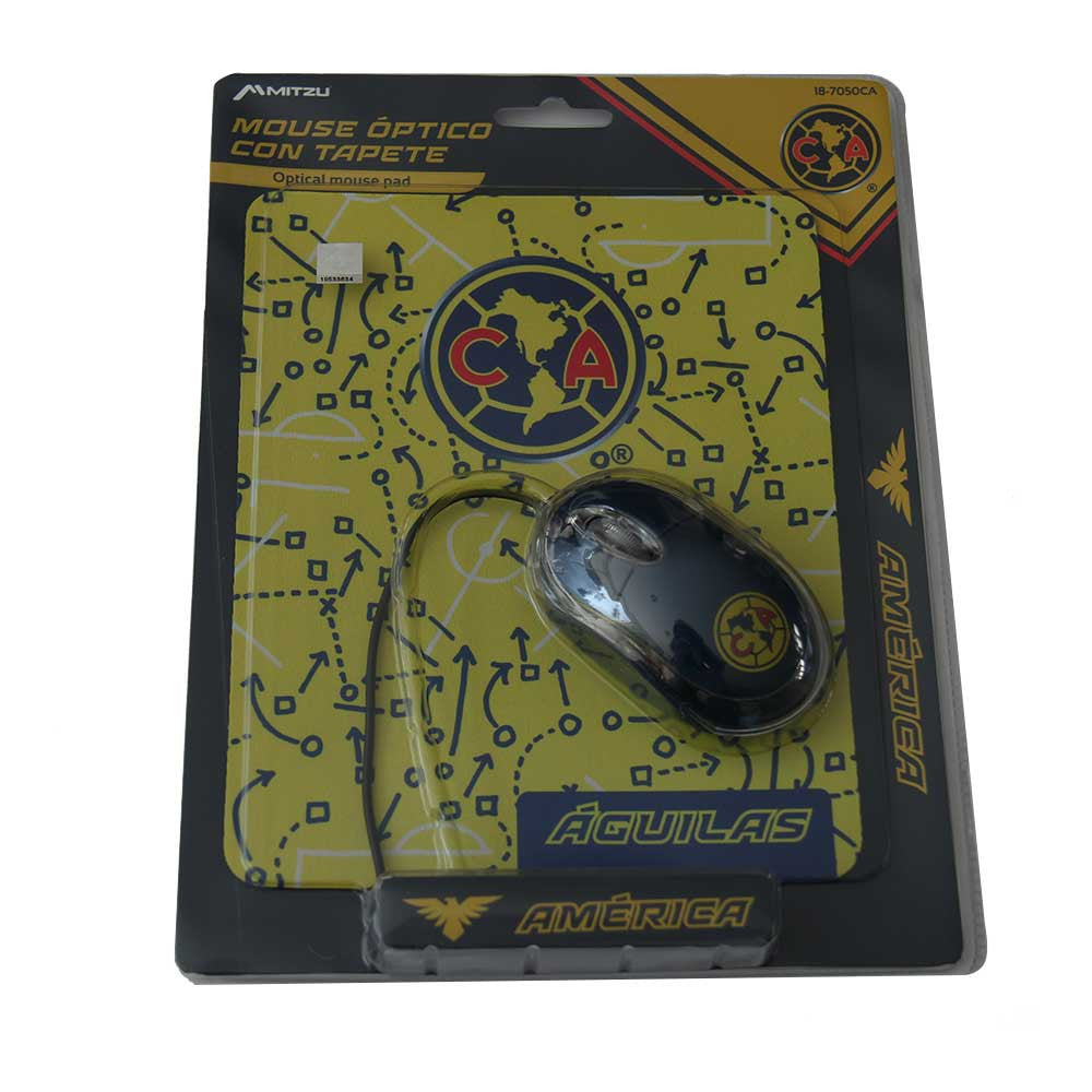 Mouse optico 3 botones con tapete club america