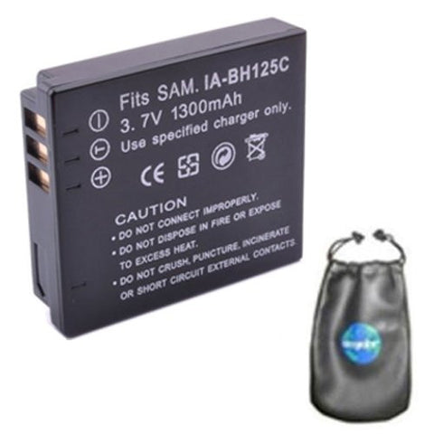 Digital Replacement Battery for Specific Digital Camera and Camcorder Models / Compatible with Samsung IA-BH125C, IABH125C, HMX-R10, HMXR10 - Includes Leatherette Camera / Lens Accessories Pouch