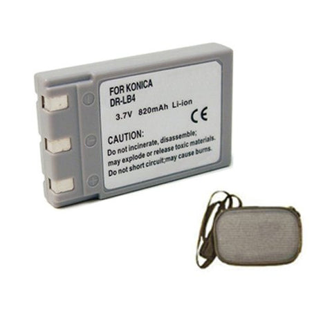 Extended Life Replacement Battery for Specific Digital Camera and Camcorder Models / Compatible with Konica DR-LB4, Revio KD-310, KD-310Z, KD-400Z, KD-410Z, KD-420Z, KD-500Z, KD-510Z - Includes Hard Case Camera Bag