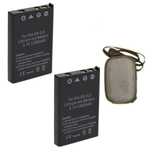 ValuePack (2 Count): Extended Life Replacement Battery for Specific Digital Camera and Camcorder Models / Compatible with Nikon EN-EL5, ENEL5, Coolpix P6000, P5100, P5000, 7900, 5900, 4200, 3700, P90, P80, P4, P3, S10 - Includes Hard Case Camera Bag
