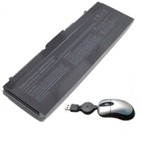 Amsahr® Replacement Battery for Toshiba 3216, 5200, 5205, PA3216U-1BAS, PA3216U-1BRS, PA3288U-1BAS, PA3288U-1BRS, PABAS025 (9 Cell, 6600 mAh) - Includes Mini Optical Mouse