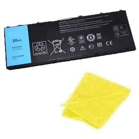 Amsahr® Replacement Battery for Dell Latitude 10, FWRM8, 1VH6G, 1XP35, 312-1412, C1H8N, KY1TV, PPNPH (4 Cell, 30WH) - Includes Cleaning Cloth
