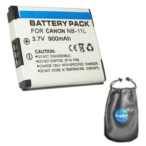 Digital Replacement Battery for Specific Digital Camera and Camcorder Models / Compatible with Canon NB-11L, IXUS 125HS, IXUS 240HS, PowerShot A2300, PowerShot A2400, PowerShot A3400, PowerShot A4000 - Includes Leatherette Camera / Lens Accessories Pouch