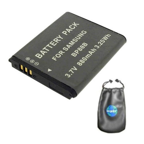 Digital Replacement Battery for Specific Digital Camera and Camcorder Models / Compatible with Samsung BP-88B, MV900F - Includes Leatherette Camera / Lens Accessories Pouch