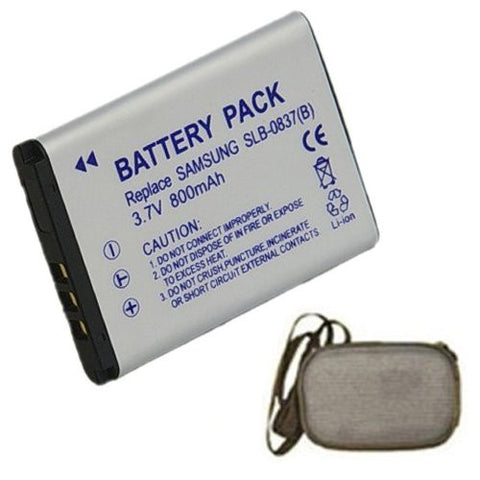 Extended Life Replacement Battery for Specific Digital Camera and Camcorder Models / Compatible with Samsung SLB-0837B, SLB0837B, Digimax L70, Digimax L70B, L83T, NV10, VLUU L201, NV15, NV20, VLUU NV10 - Includes Hard Case Camera Bag