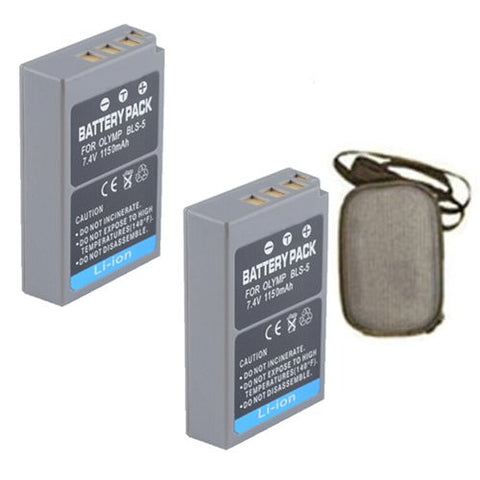 ValuePack (2 Count): Extended Life Replacement Battery for Specific Digital Camera and Camcorder Models / Compatible with Olympus PS-BLS5, BLS-5, E-P3, E-PL3, E-PM1 - Includes Hard Case Camera Bag
